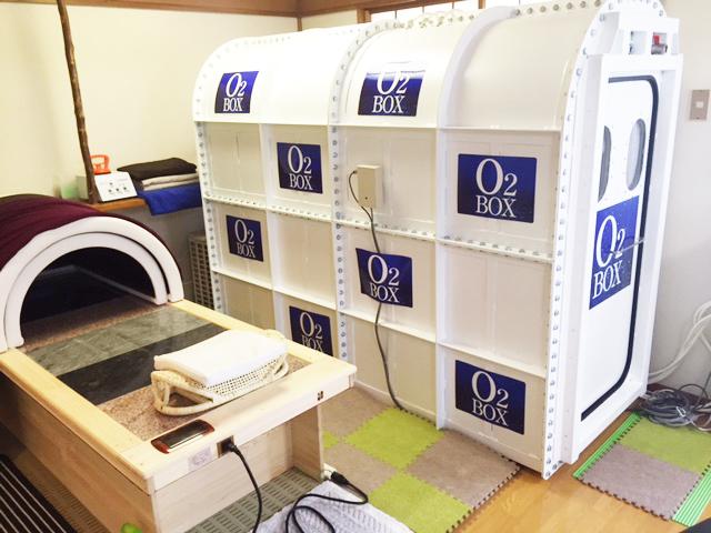 岩盤浴ベッド、酸素BOX